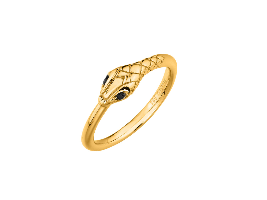 Medusa snake ring, sterling silver, yellow gold plated