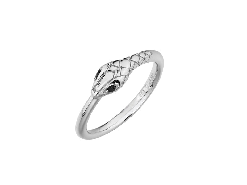 Medusa snake ring, sterling silver, rhodium plated