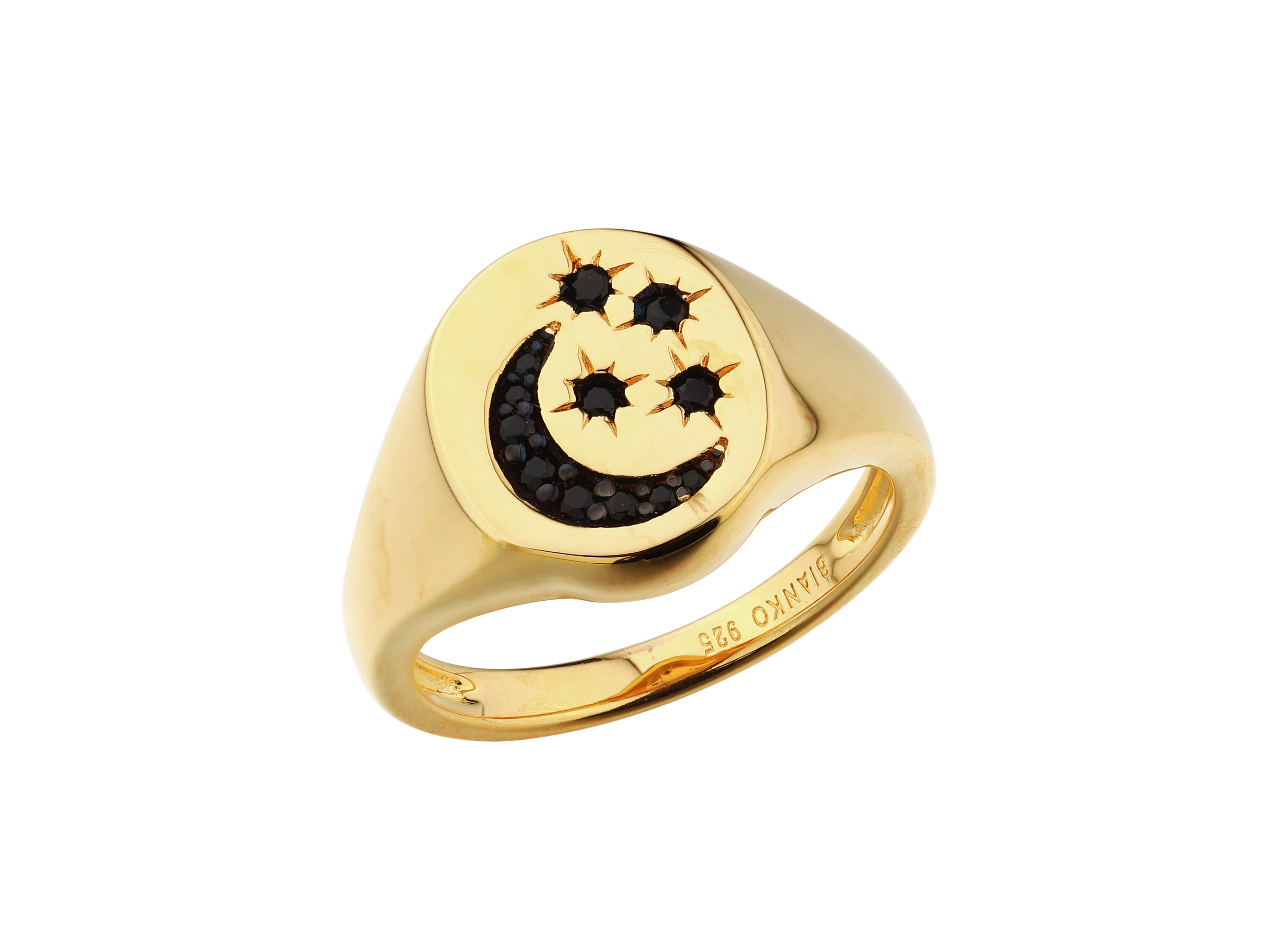 Selene stars and moon signet ring, sterling silver, black spinel, yellow gold plated