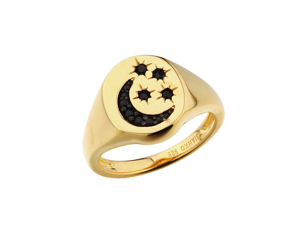 Selene Ring - Yellow Gold, Black Spinel