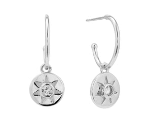 Arinna drop earrings, sterling silver, rhodium plated