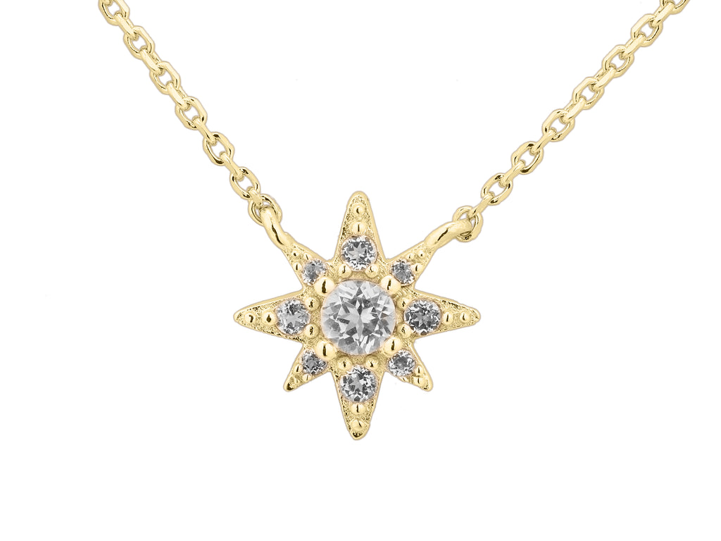 Astraea star necklace, sterling silver, yellow gold plated
