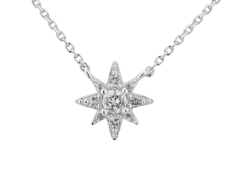 Astraea star necklace, sterling silver, rhodium plated