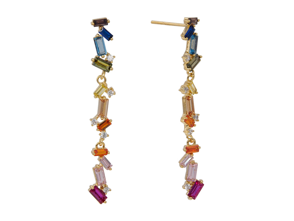 Product image for our Rainbow Drop earrings, crafted from Sterling silver, plated in 18 carat gold (vermeil) and set with multicoloured gemstones.