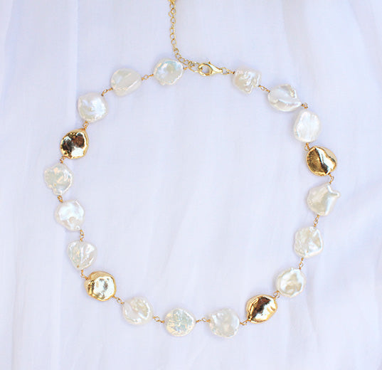 Venus Gold Dipped Baroque Pearl Choker - Yellow Gold