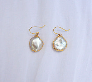 Venus Gold Dipped Baroque Pearl Earrings - Yellow Gold