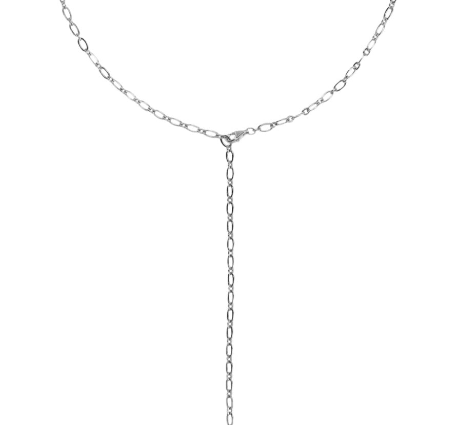 Y-Shape Adjustable Necklace - Silver (Rhodium Plated)
