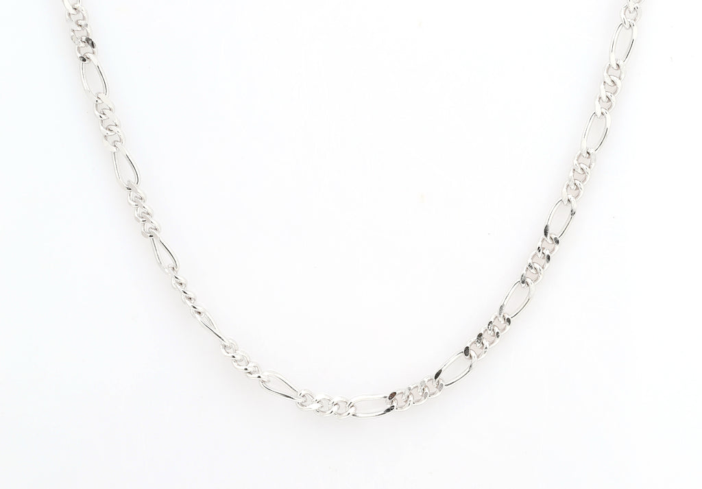 Figaro chain, sterling silver, rhodium plated