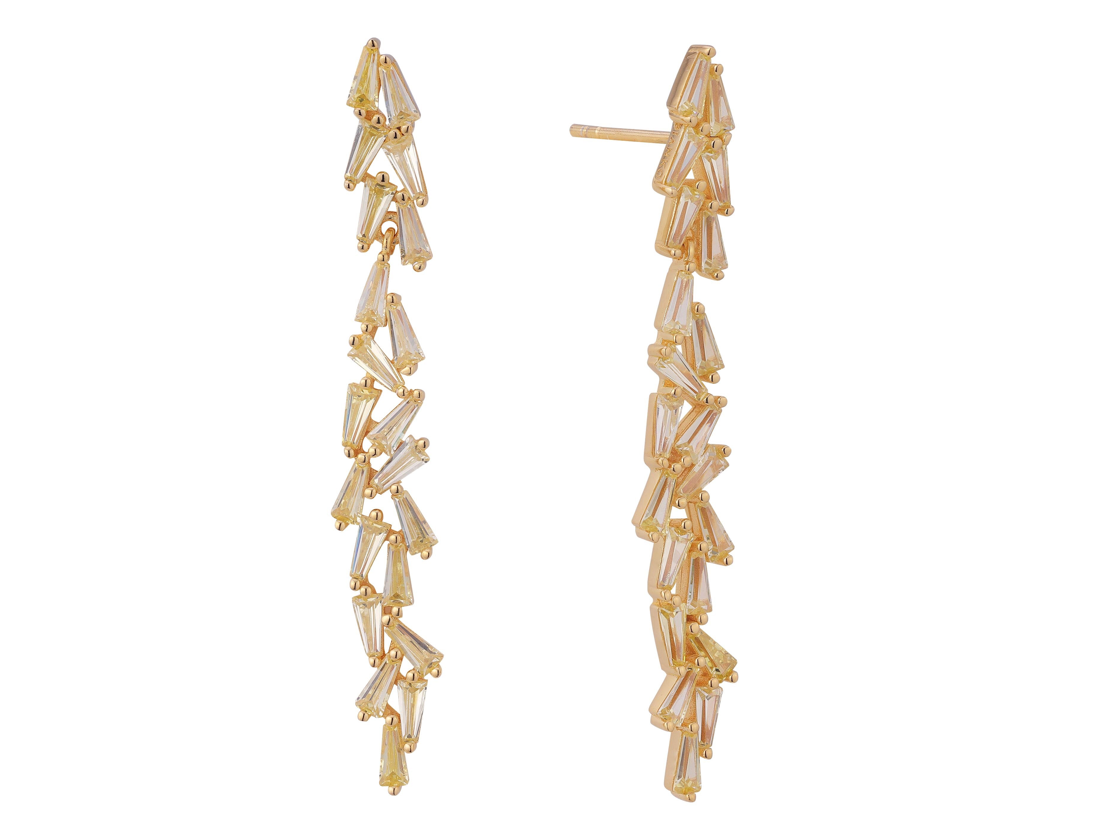 Product image of our aurora earrings crafted from Sterling silver, plated in 18 carat yellow gold (vermeil) and set with 21 trapeze cut yellow zircon gemstones.