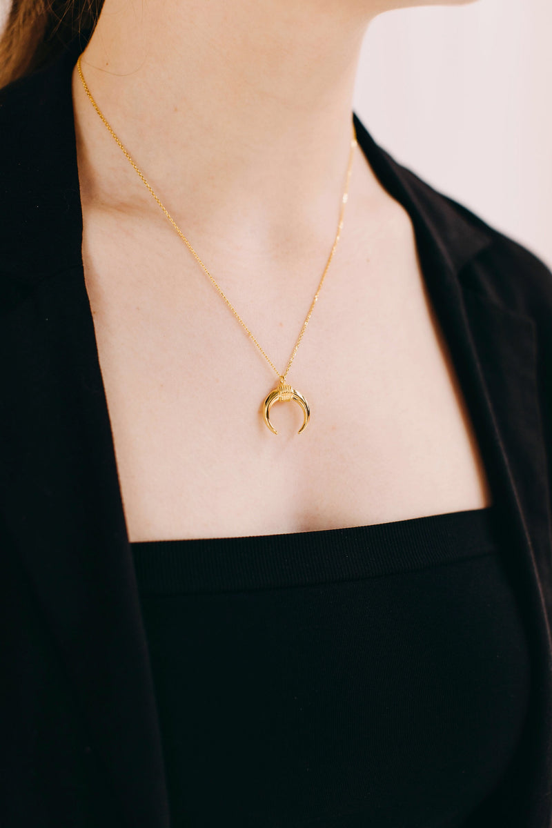 Horn Necklace - Rhodium Plated