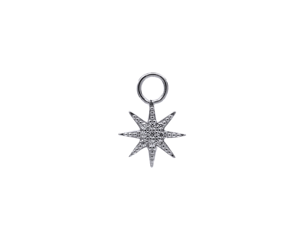 Pave Sun Charm - Silver (Rhodium Plated)