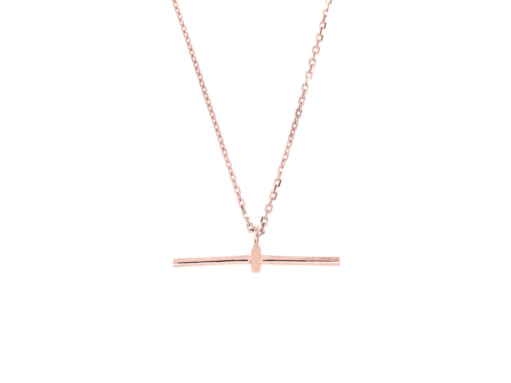T-Bar Necklace - Rose Gold