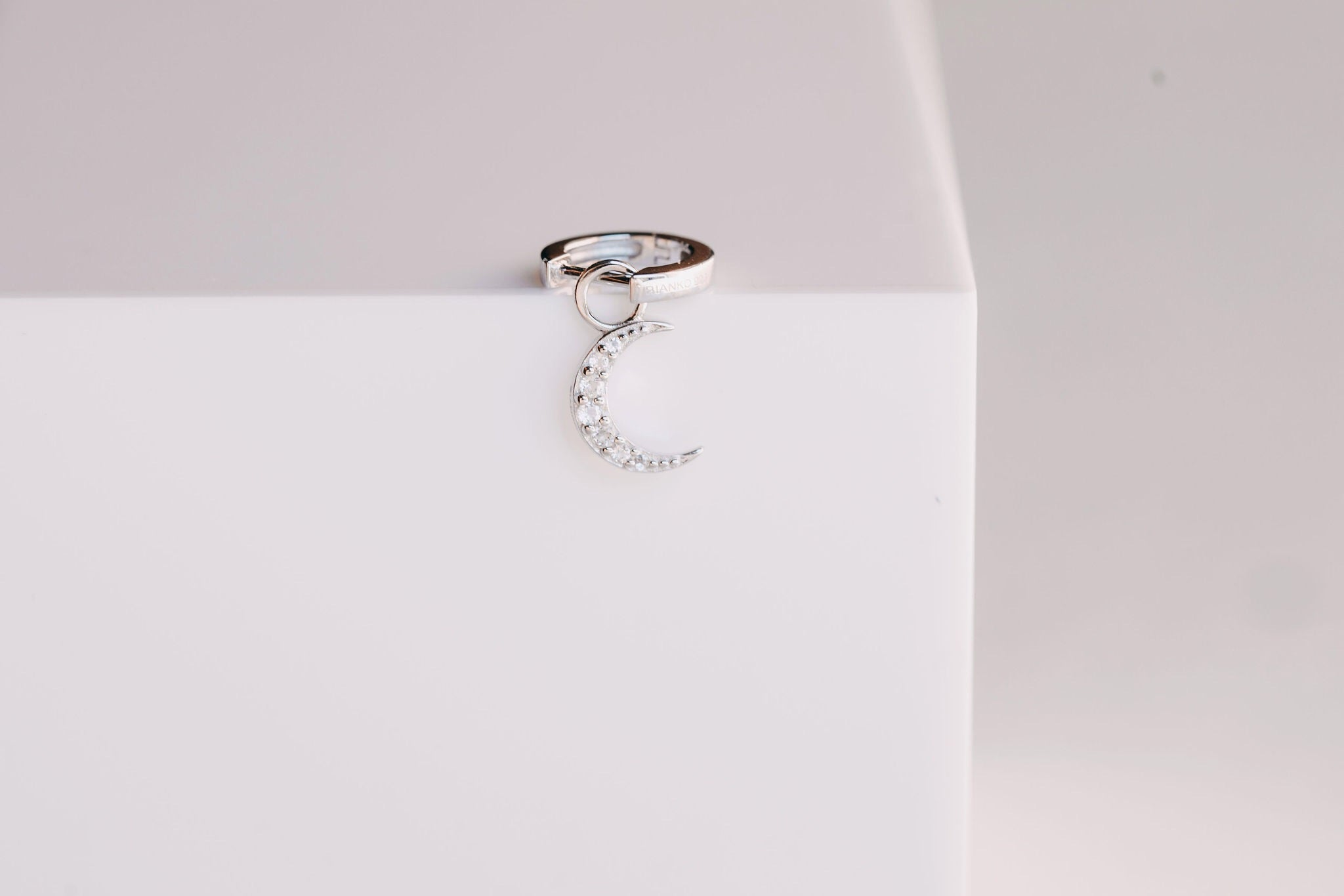Pave Moon Charm - Silver (Rhodium Plated)