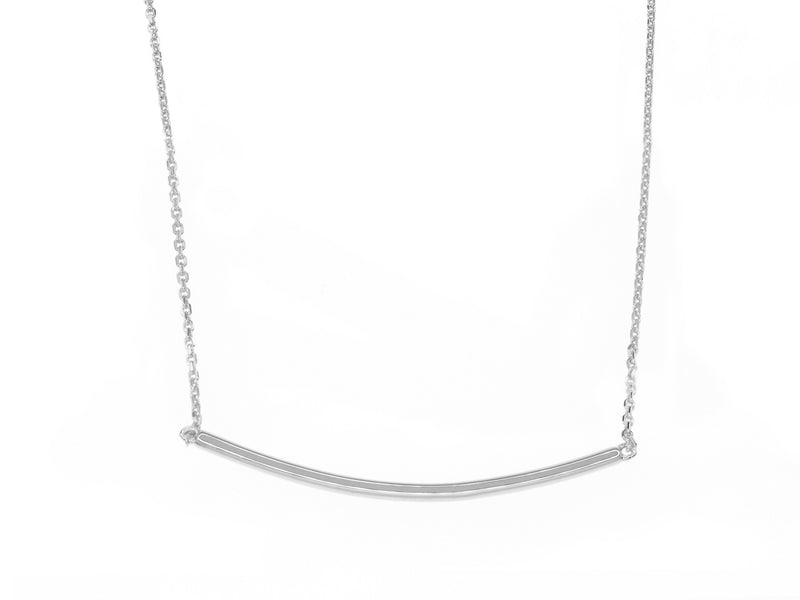Curved Bar Necklace - Silver (Rhodium Plated)