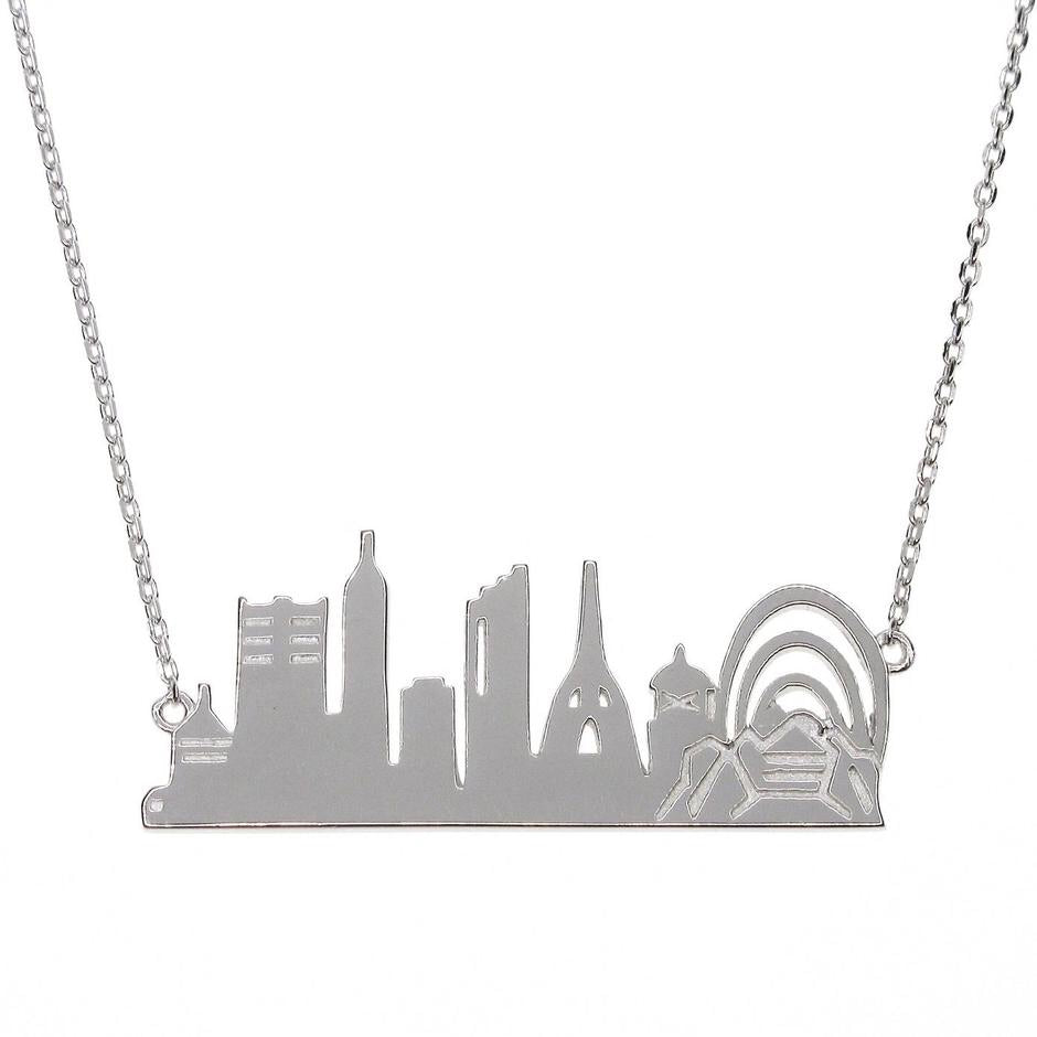 PERTH City Skyline Necklace - Silver (Rhodium Plated)
