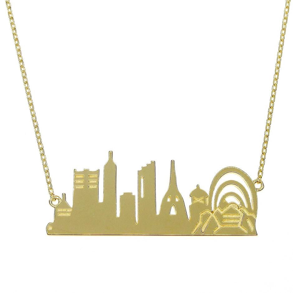 PERTH City Skyline Necklace - Yellow Gold