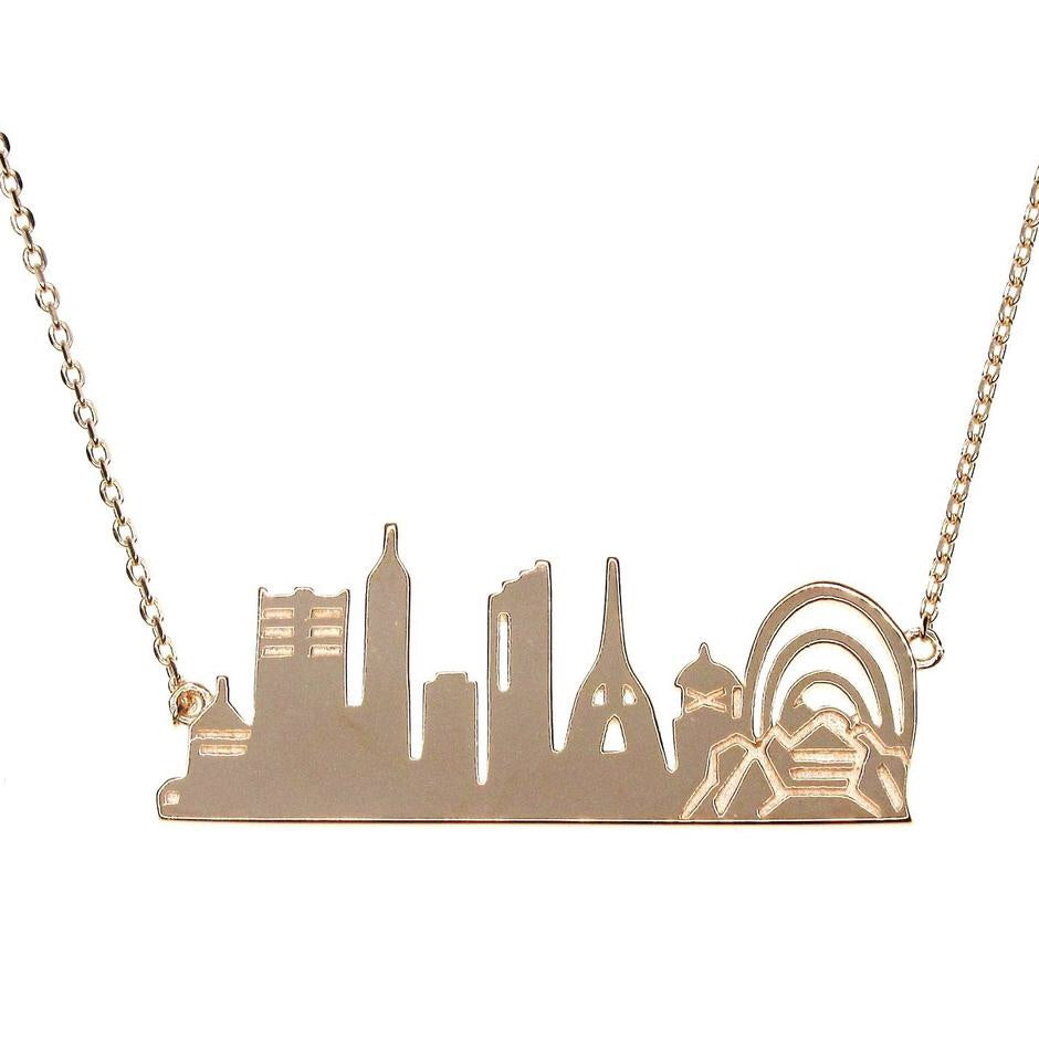 PERTH City Skyline Necklace - Rose Gold