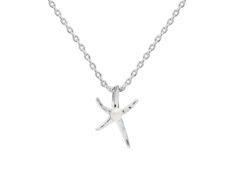 Ningaloo starfish necklace, sterling silver, rhodium plated