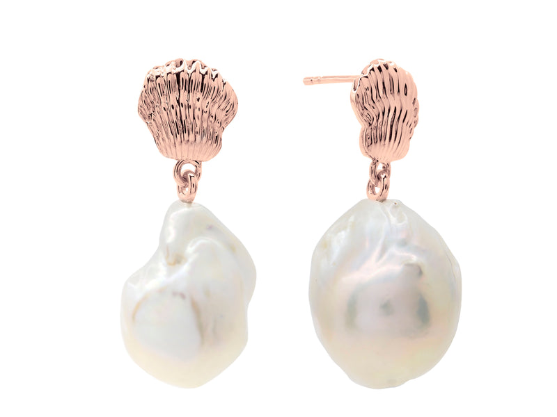 Ningaloo baroque pearl earrings, sterling silver, rose gold plated