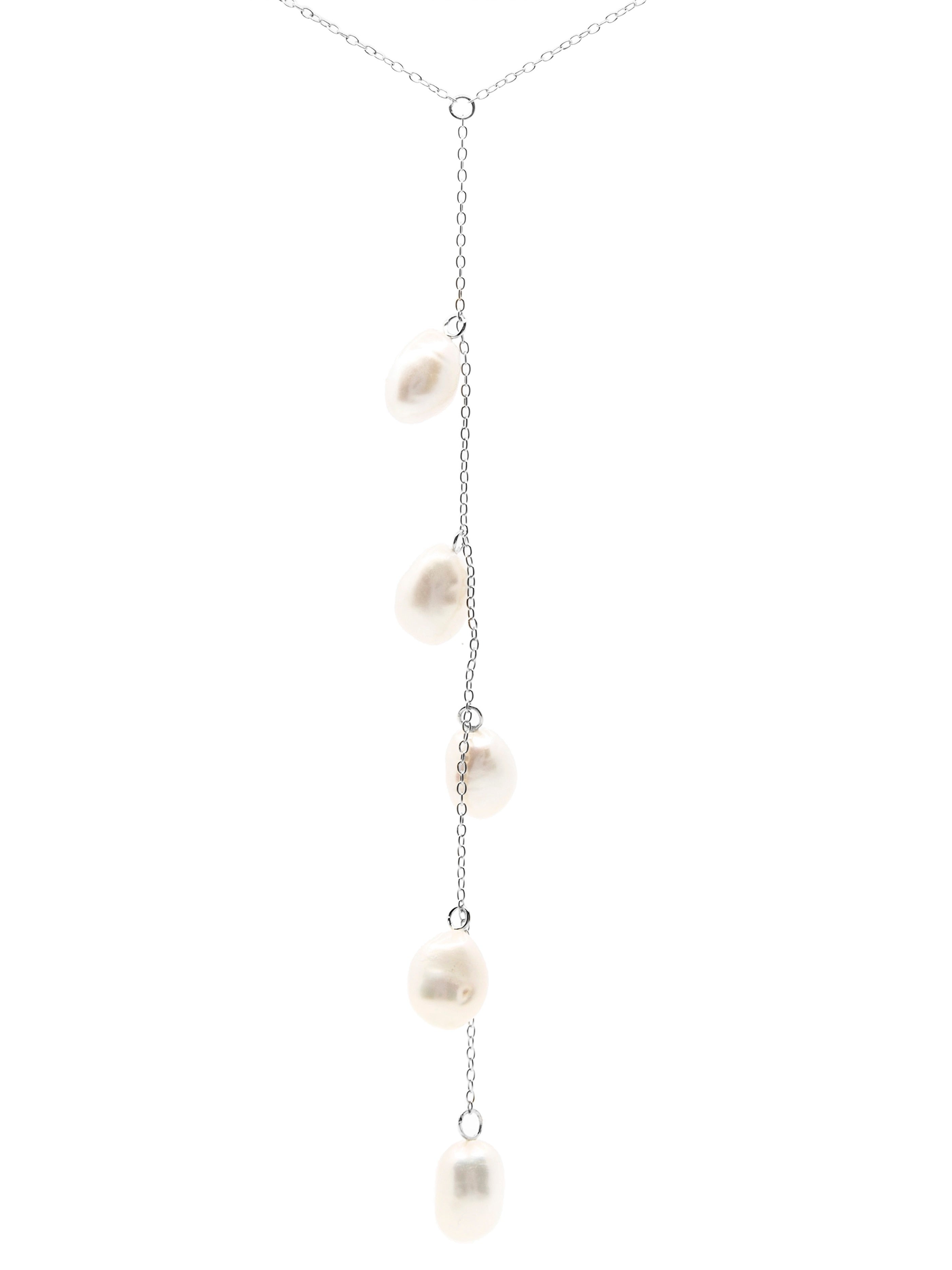 Cape Leveque baroque pearl drop necklace, sterling silver, rhodium plated