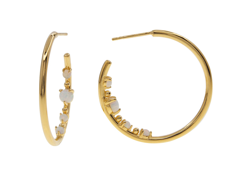 Castle Rock Opal Hoops, sterling silver, yellow gold plated