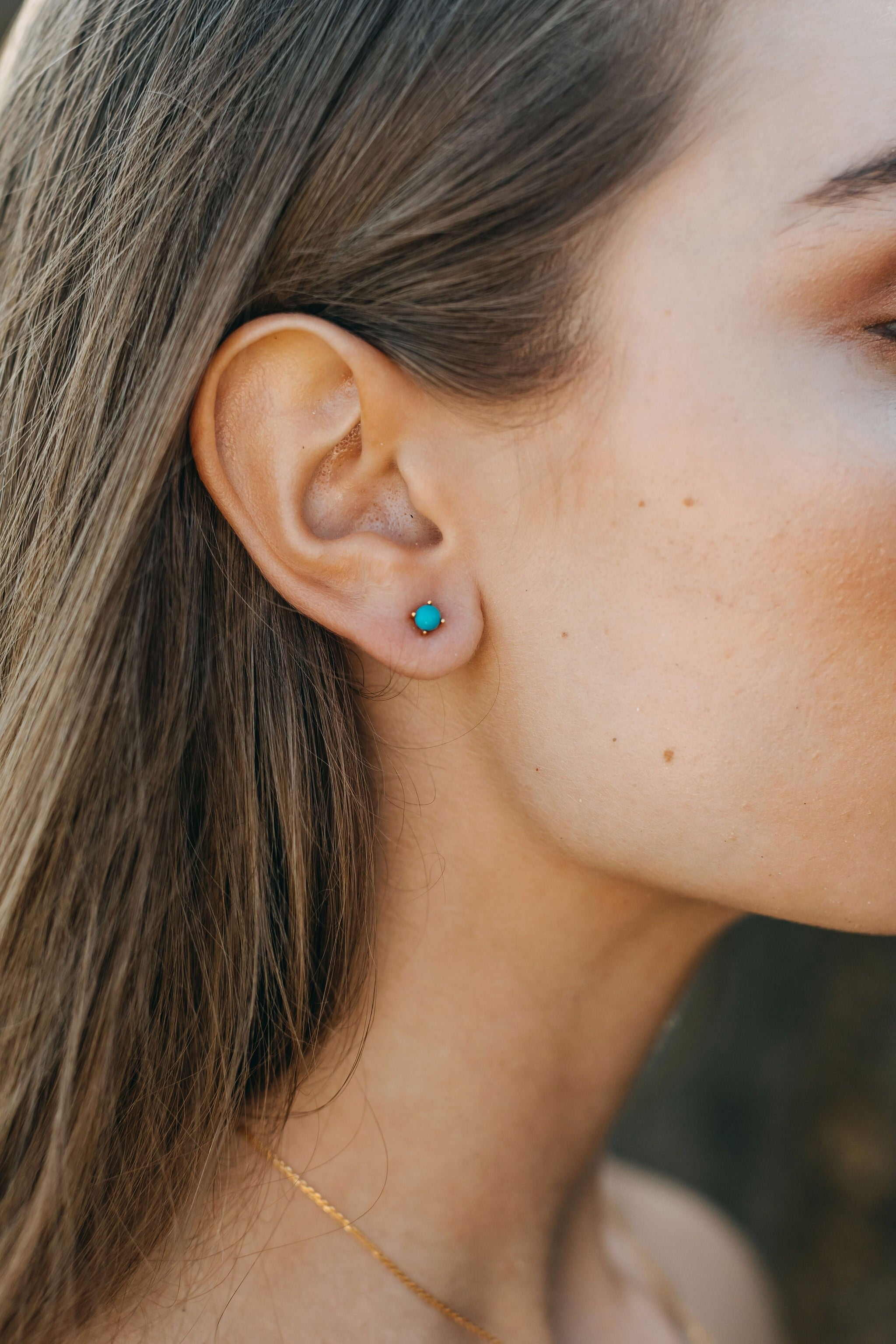 Castle rock turquoise stud earrings, sterling silver, rose gold plated
