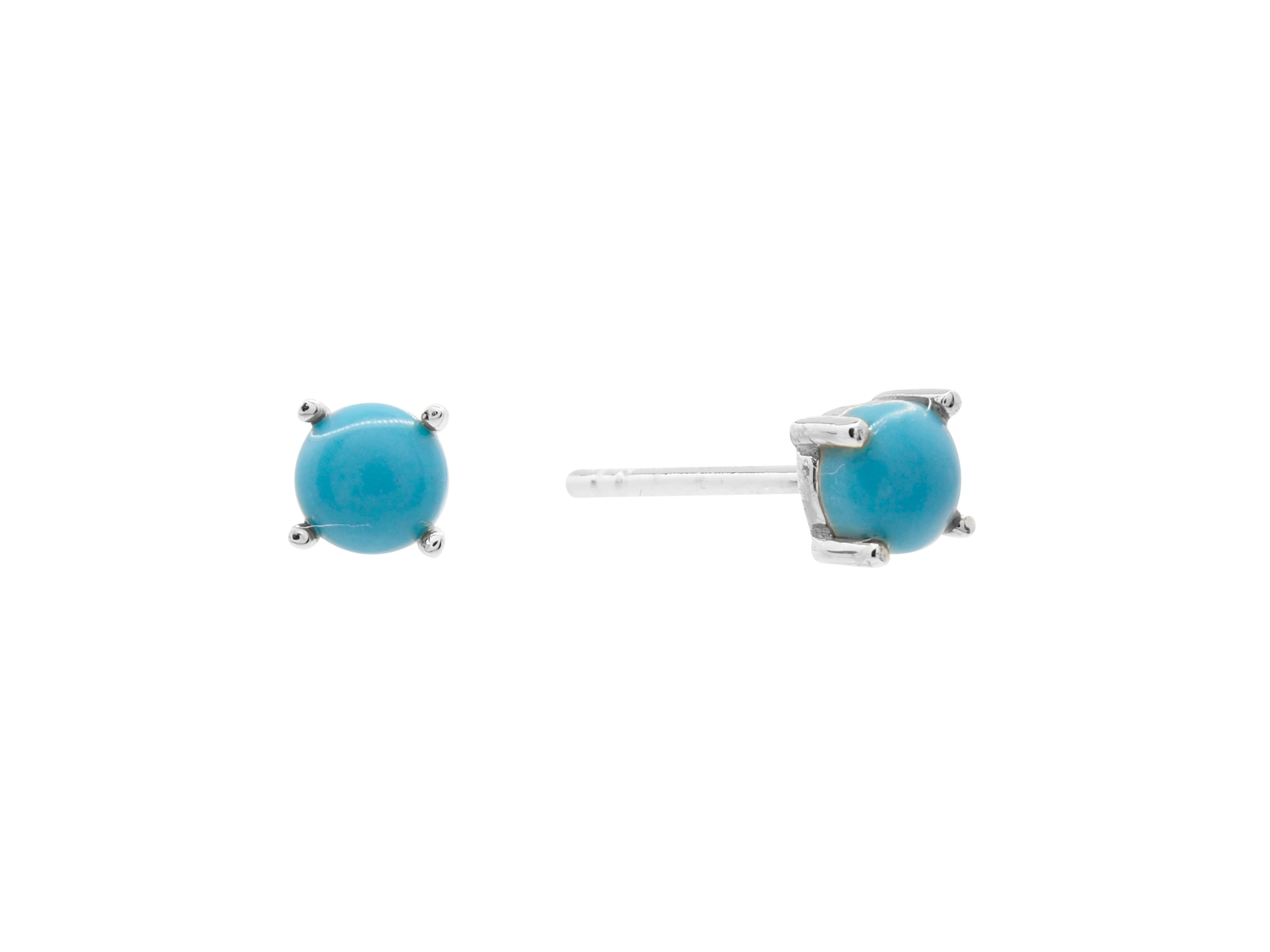Castle rock turquoise stud earrings, sterling silver, rhodium plated