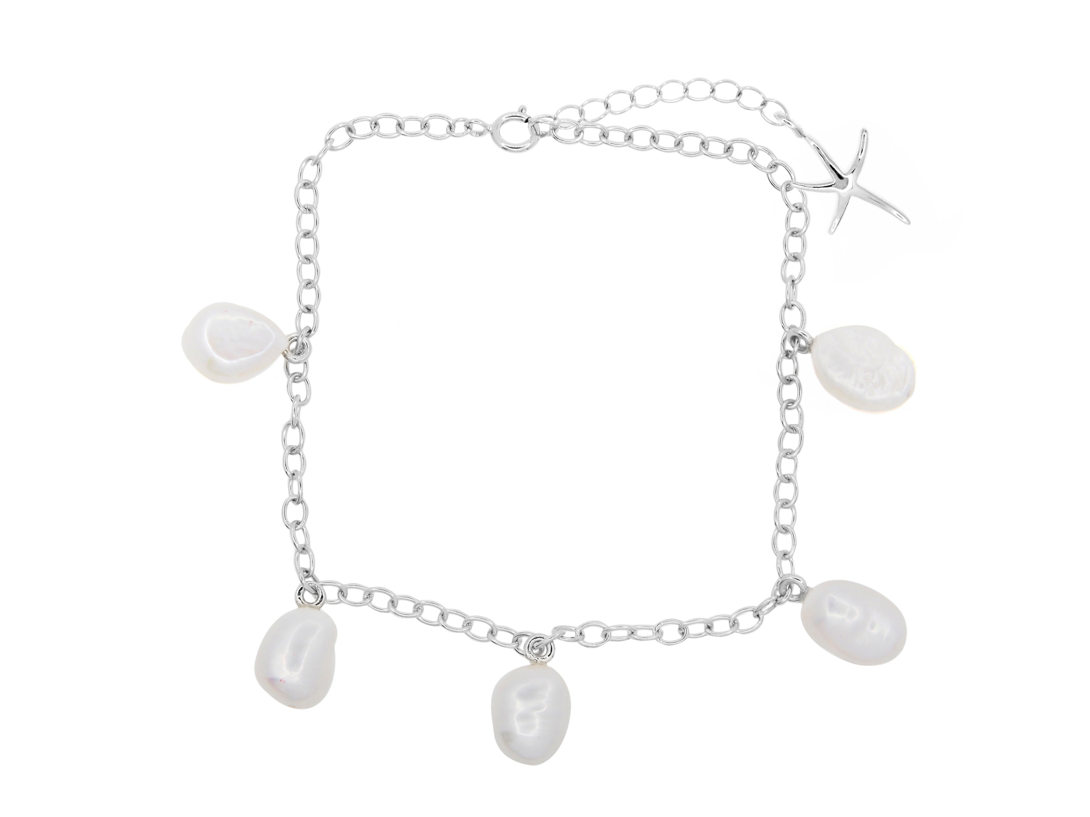 Cable Beach Anklet - Silver (Rhodium Plated)