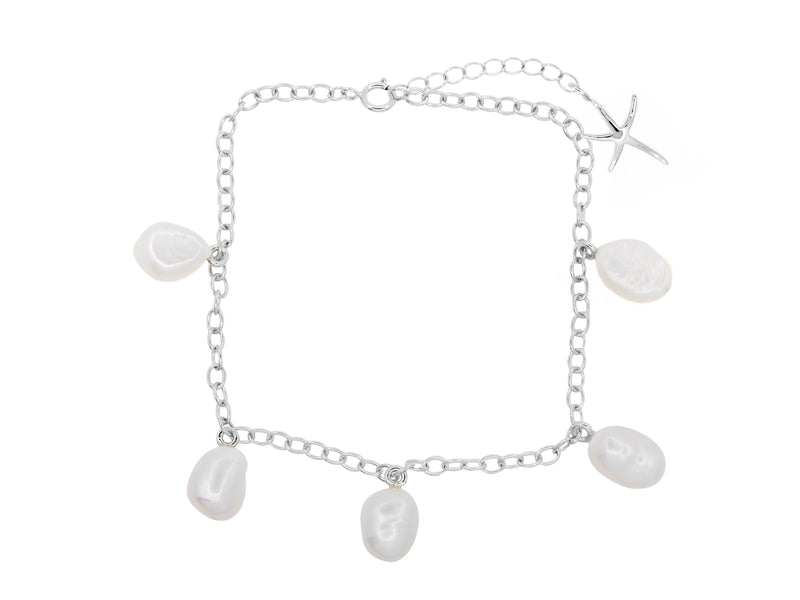 Cable beach pearl anklet, sterling silver, rhodium plated
