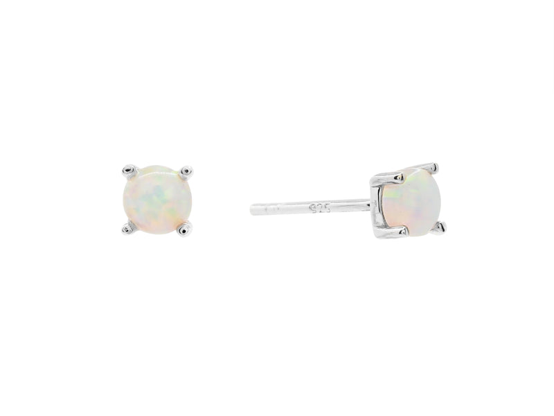 Castle rock opal stud earrings, sterling silver, rhodium plated
