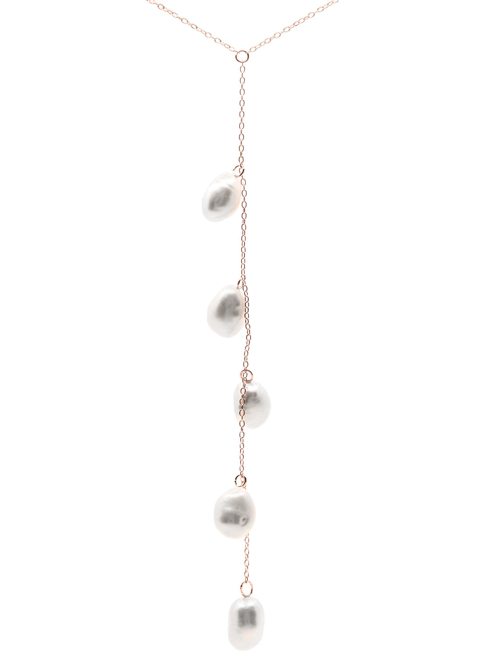 Cape Leveque baroque pearl drop necklace, sterling silver, rose gold plated