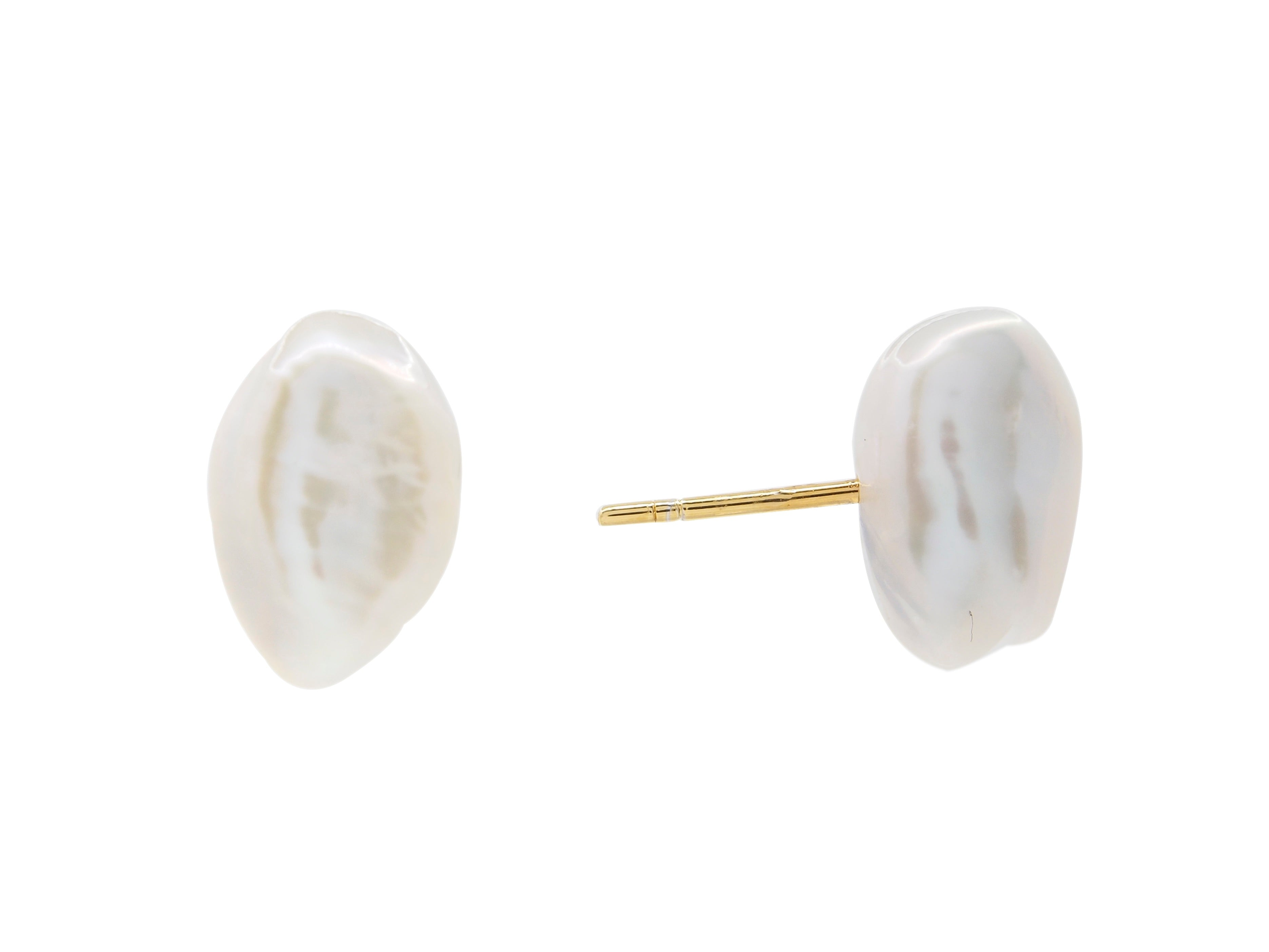 Cable beach baroque pearl stud earrings, sterling silver, yellow gold plated