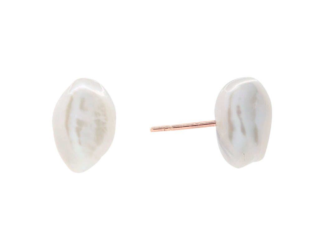 Cable beach baroque pearl stud earrings, sterling silver, rose gold plated