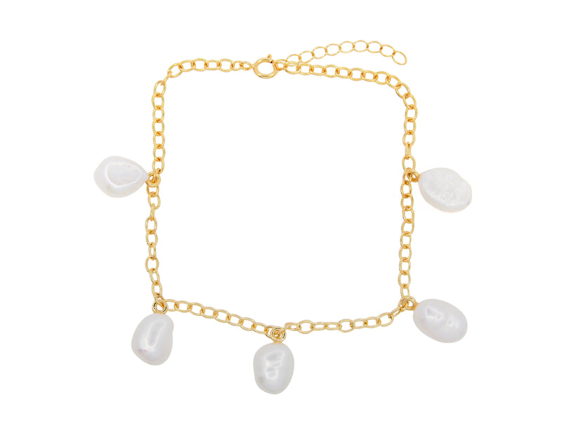 Cable beach pearl anklet, sterling silver, yellow gold plated