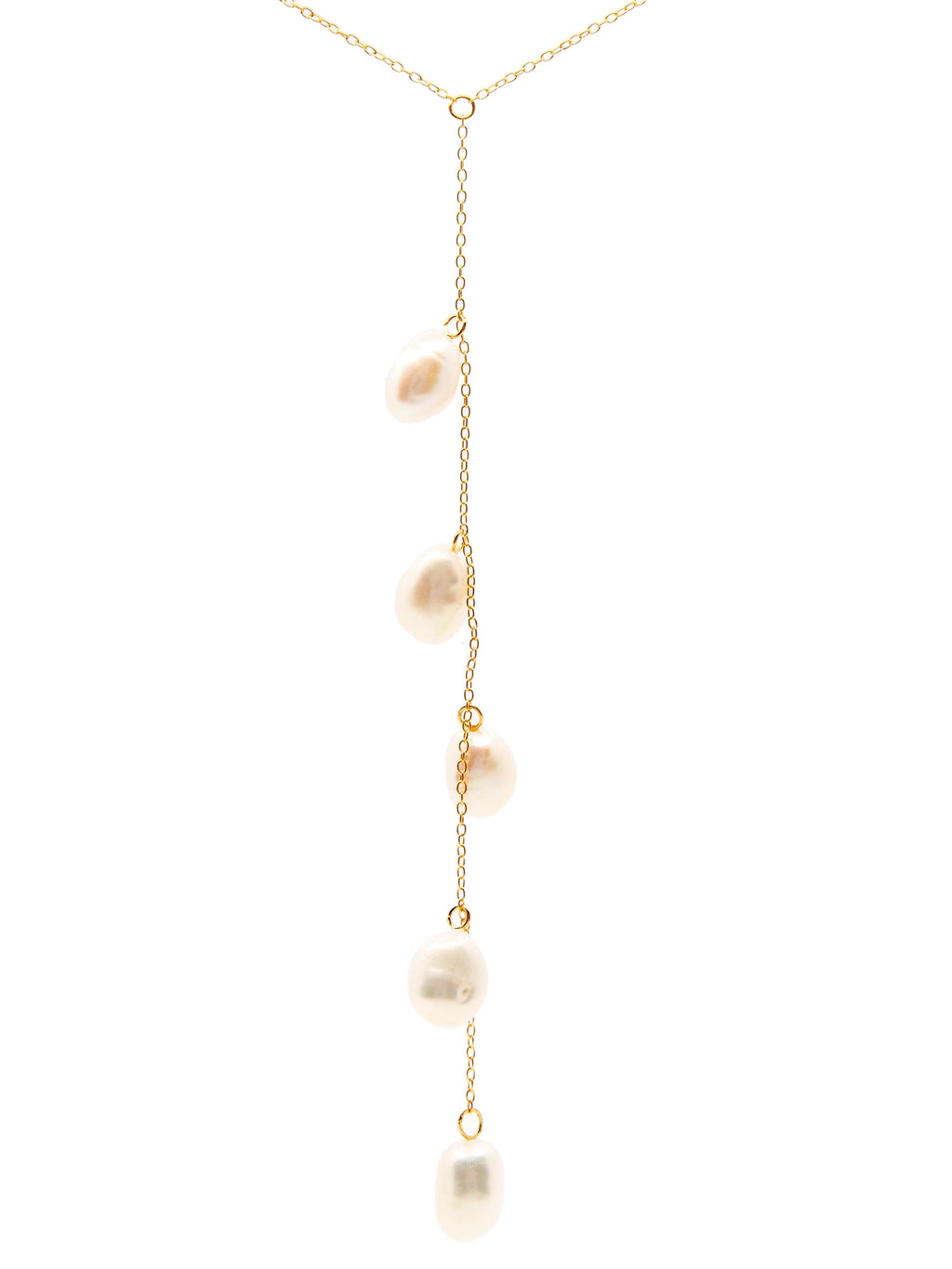 Cape Leveque baroque pearl drop necklace, sterling silver, yellow gold plated