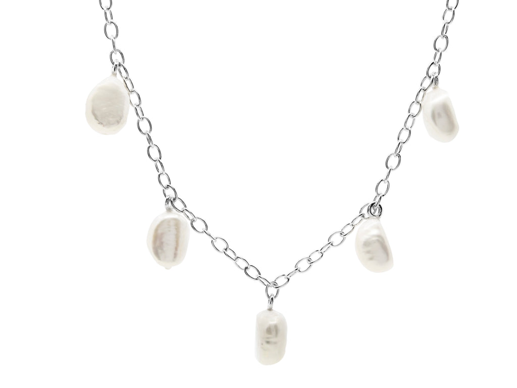 Cable beach baroque pearl necklace, sterling silver, rhodium plated