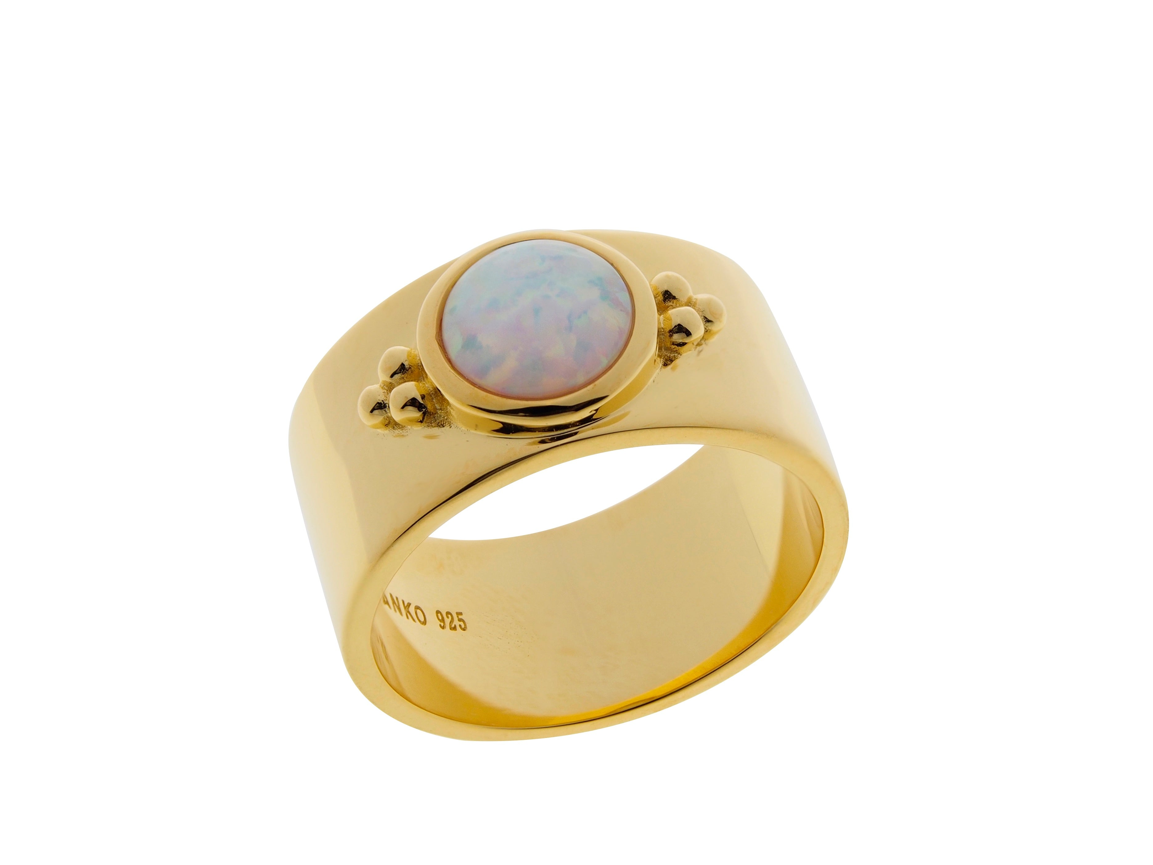 Lucky bay opal ring, sterling silver, yellow gold plated