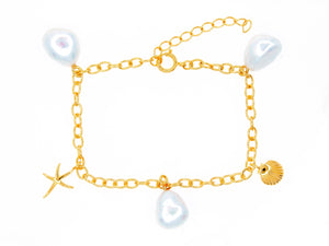 Ningaloo bracelet, sterling silver, yellow gold plated