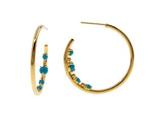 Castle Rock Turquoise Hoops, sterling silver, yellow gold plated