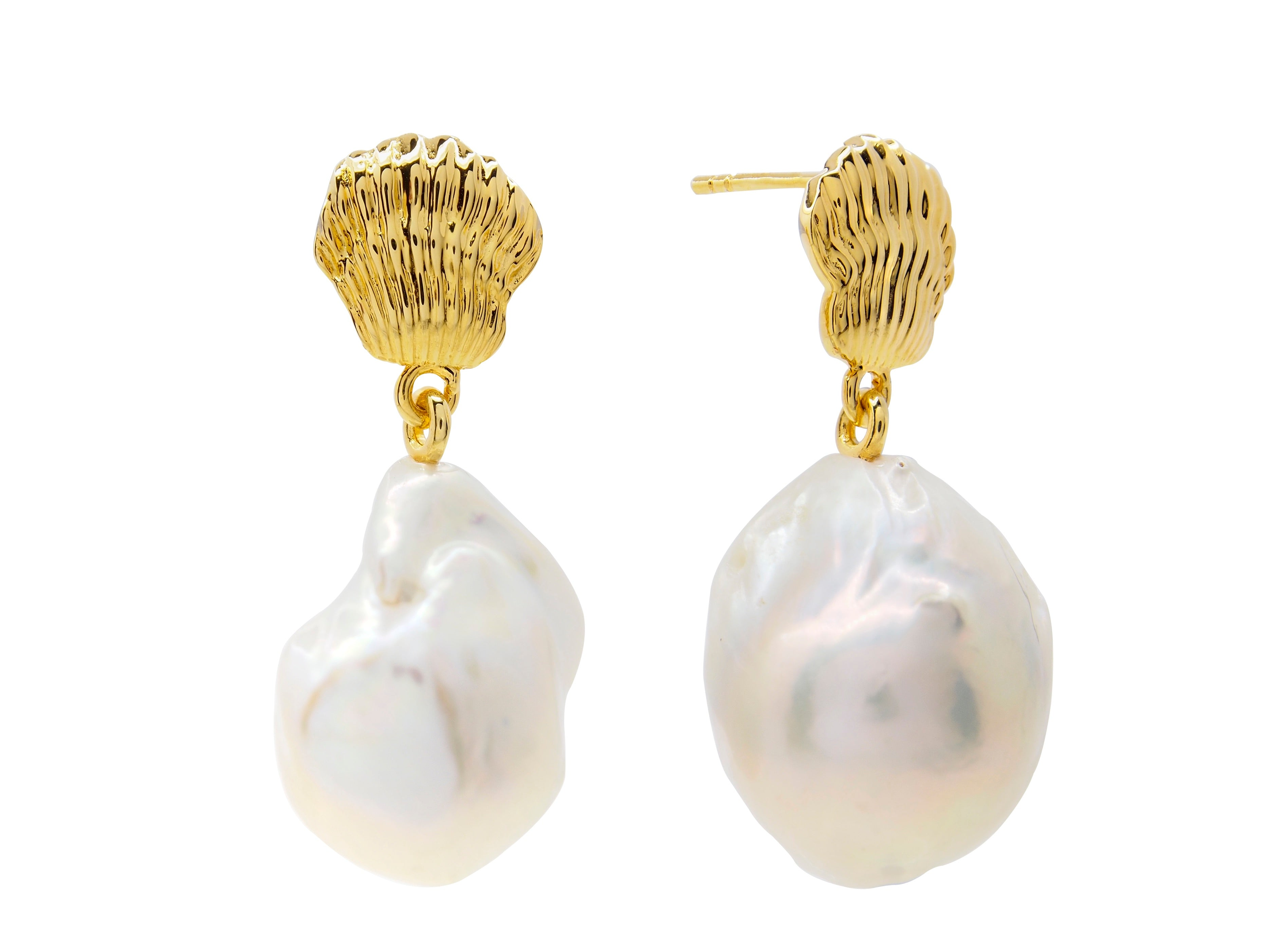 Ningaloo baroque pearl earrings, sterling silver, yellow gold plated