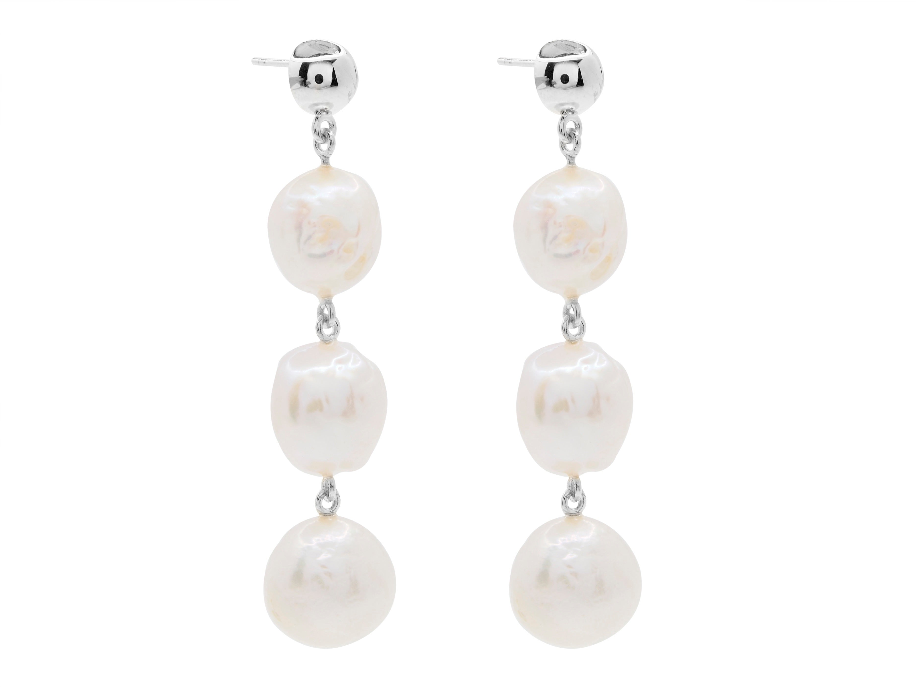 Cape Leveque baroque pearl drop earrings, sterling silver, rhodium plated