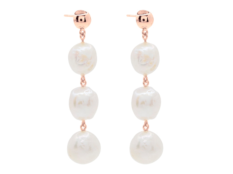 Cape Leveque baroque pearl drop earrings, sterling silver, rose gold plated