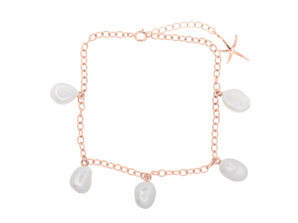 Cable beach pearl anklet, sterling silver, rose gold plated