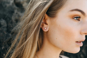 Castle Rock Opal Studs - Rose Gold