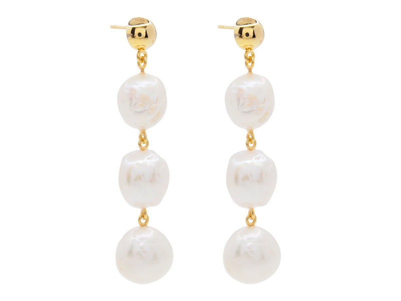 Cape Leveque baroque pearl drop earrings, sterling silver, yellow gold plated