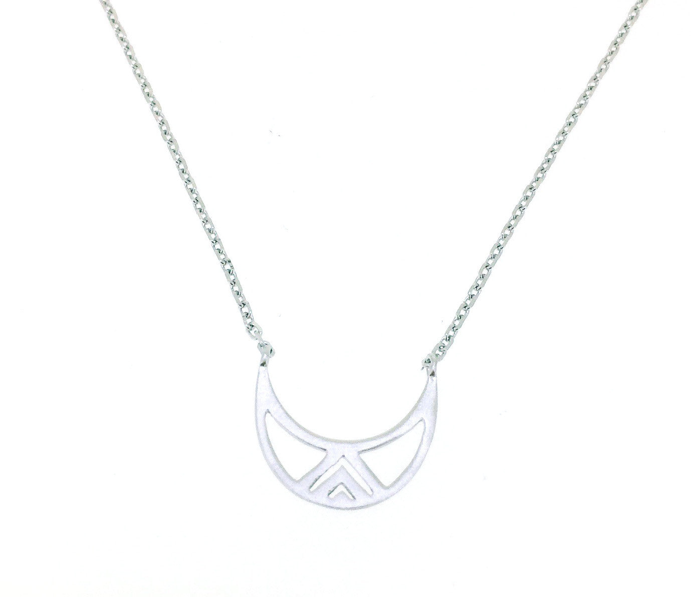 Sterling silver necklace with crescent moon pendant - Silver (Rhodium Plated)