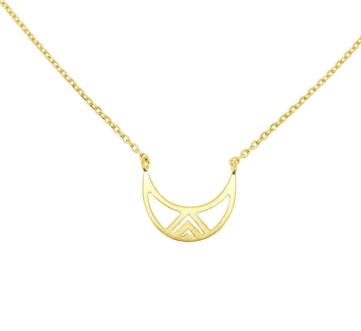 Sterling silver necklace with crescent moon pendant - Yellow Gold