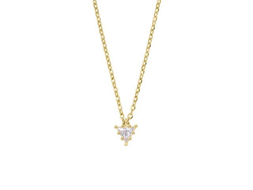 Sterling silver necklace with trilliant cut white sapphire pendant - Yellow Gold