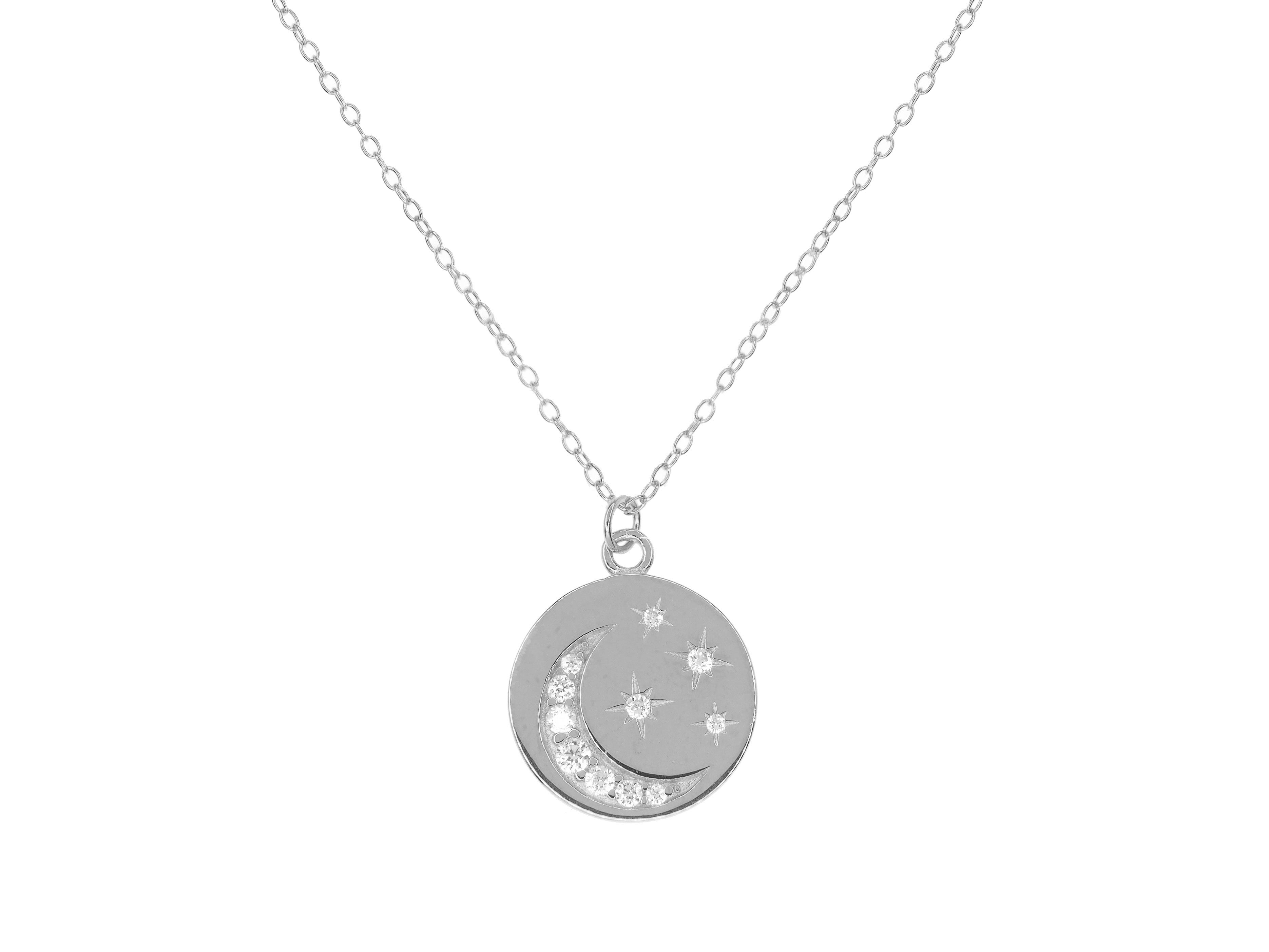 "Sterling silver ""you are my stars and moon"" necklace - Silver (Rhodium Plated)"