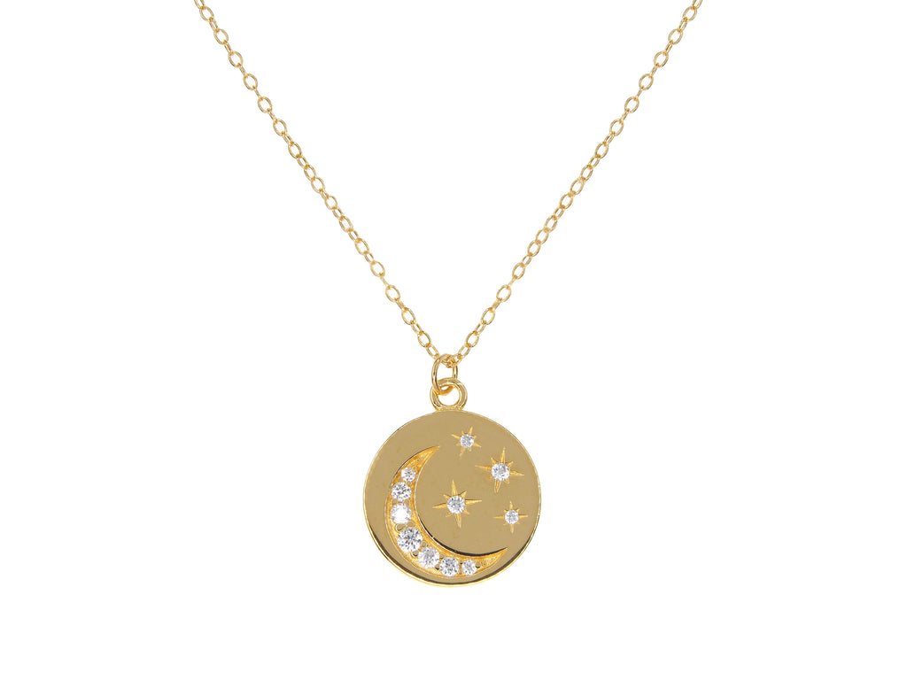 "Sterling silver ""you are my stars and moon"" necklace - Yellow Gold"